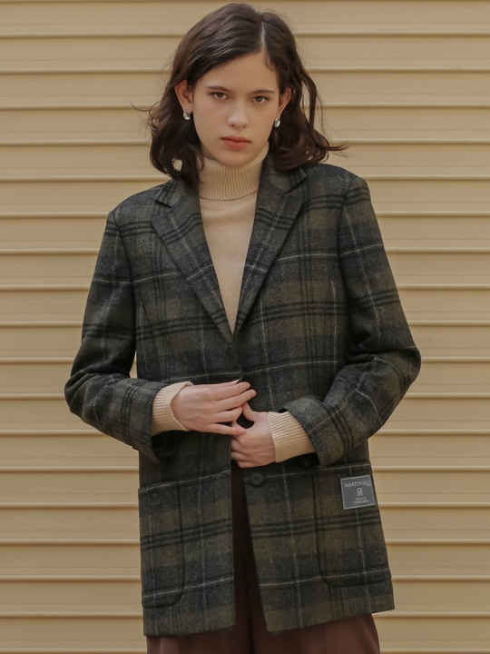 002 Marton Mills wool check jacket [BK]
