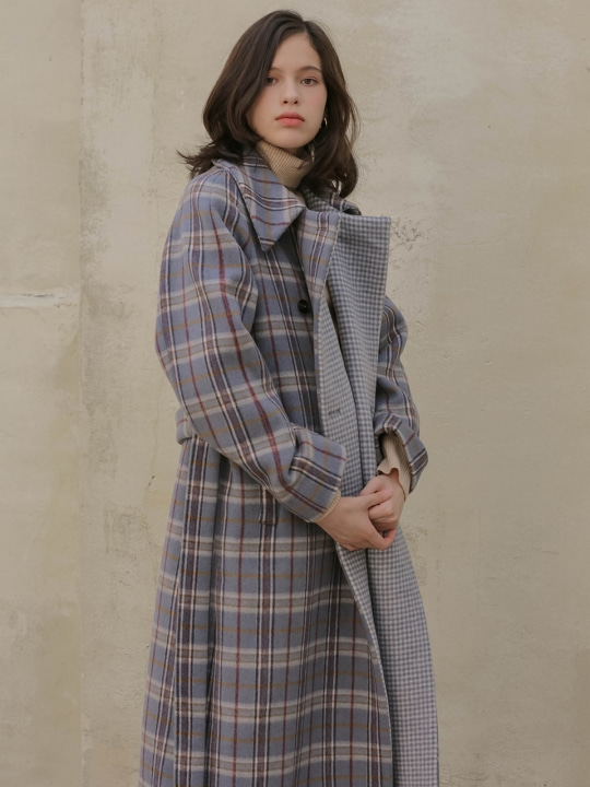 002 Blue check reversible long coat