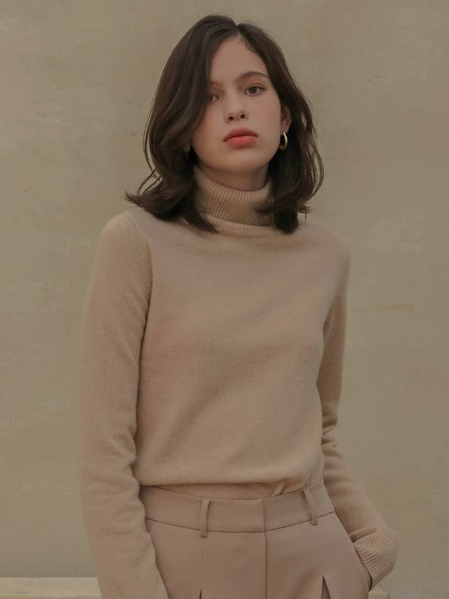 002 Cashmere basic knit turtleneck [BE]
