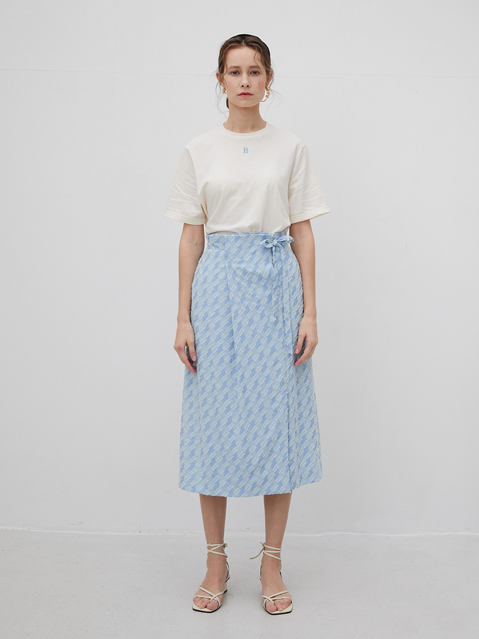 3R Viscose Light Blue Banding Belt Skirt