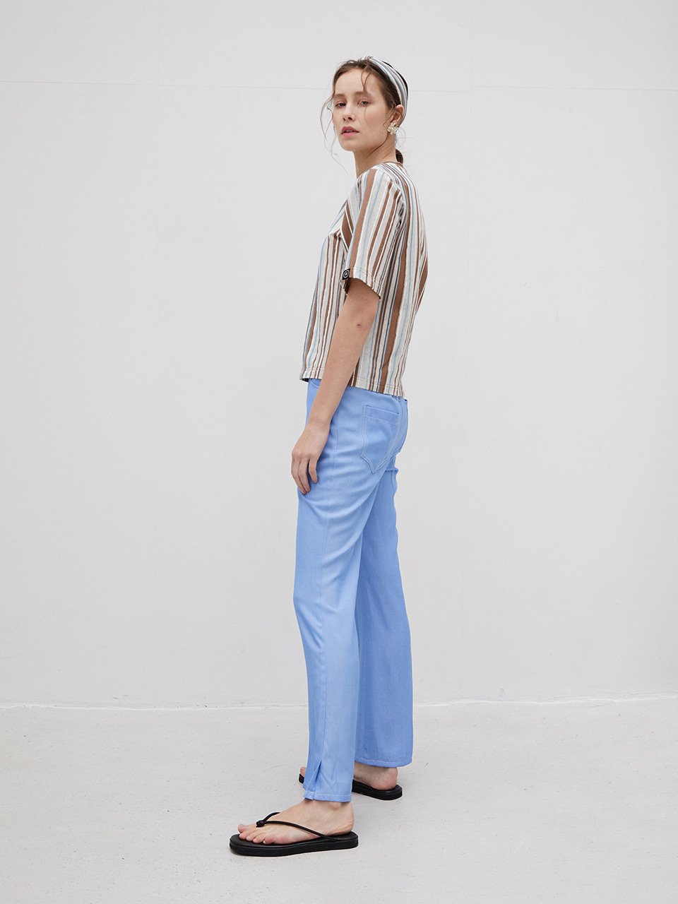 3R Light Blue Tencel Banding Wide Pants